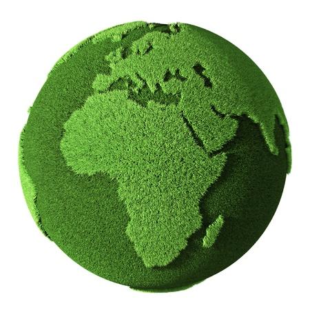 Grass Globe - Afrika, isoliert auf weißem Hintergrund 3D-Darstellung