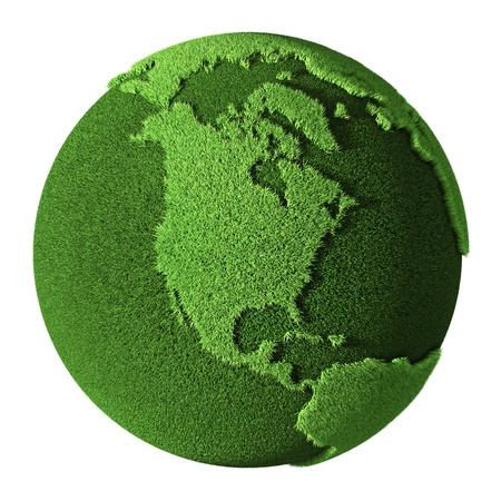 planeta verde: Grass Globe - América del Norte, aisladas sobre fondo blanco 3d