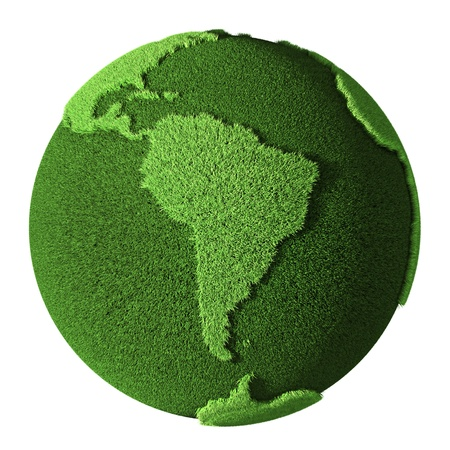 Grass Globe - South America, isolated on white background  3d render Stock Photo - 13753900