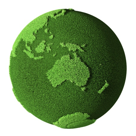 Grass Globe - Australia, isolated on white background  3d render photo
