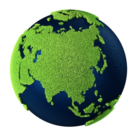 Grass Earth with blue oceans isolated on white background. Asia. 3d render photo