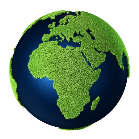 Grass Earth with blue oceans isolated on white background. Africa. 3d render