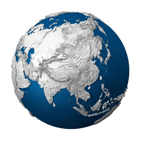 oceans: Artificial Earth - Asia. White lands and blue oceans. Detailed surface. 3d render
