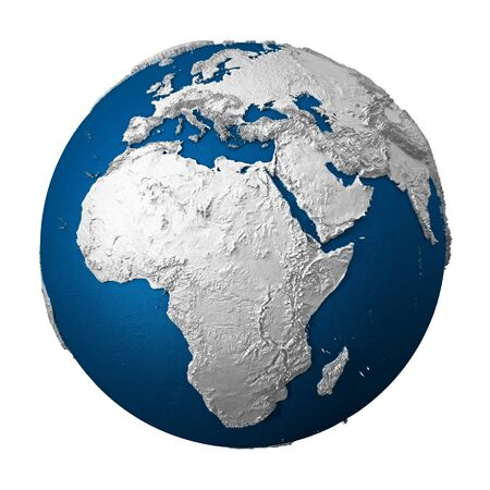 3d model: Artificial Earth - Africa. White lands and blue oceans. Detailed surface. 3d render Stock Photo