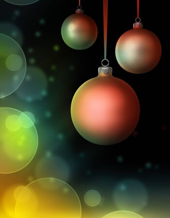 Three christmas baubles on dark background with bokeh effect  3d render Stock Photo - 14656404