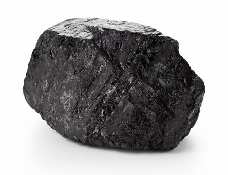 carbone: Grumo di carbone di grandi dimensioni isolato su sfondo bianco
