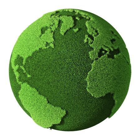 green planet: Globe Hierba aislada en el fondo blanco. 3d render