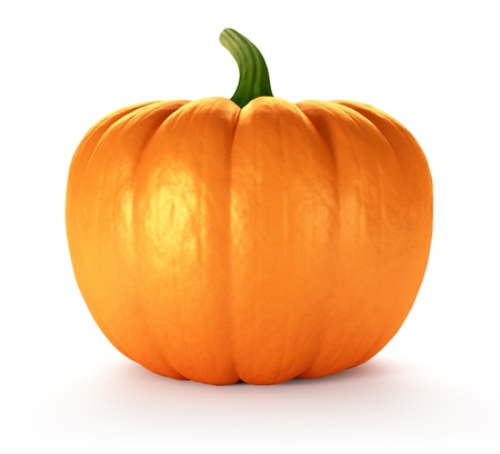 Pumpkin on white background, 3d render