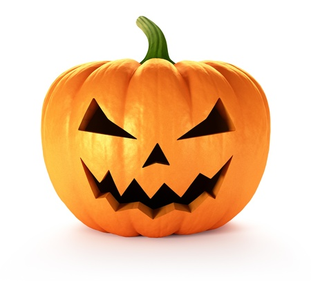 3d halloween: Scary Jack O Lantern halloween pumpkin, 3d render Stock Photo