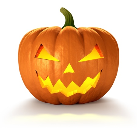 haunting: Scary Jack O Lantern halloween pumpkin with candle light inside, 3d render Stock Photo
