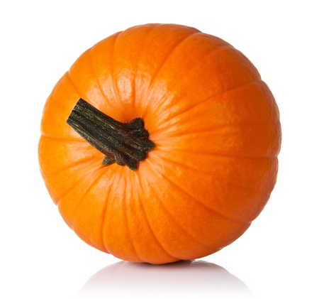 Fresh orange pumpkin isolated on white background. Top view