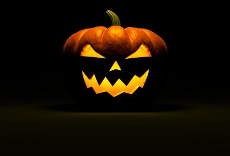 Jack O Lantern Halloween-Kürbis auf schwarzem Hintergrund mit Lichtreflexion auf dem Boden und Kopie Raum. Frontansicht. 3d render Standard-Bild