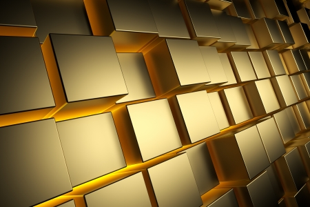 Gold cubes with back light, abstract background, 3d render