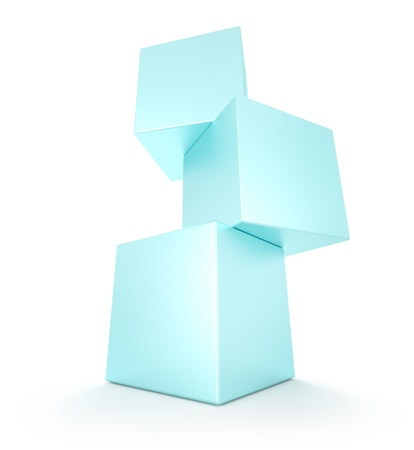 Three cubes on white background. 3d render photo