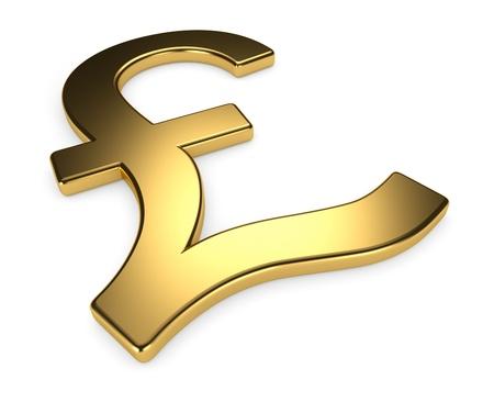 sterlina: Simbolo libra d'oro su sfondo bianco, rendering 3d