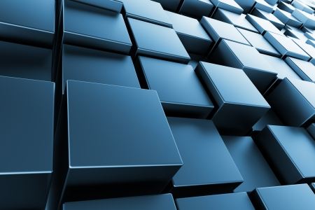 Blue metal cubes with back light, abstract background, 3d render