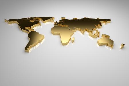 world maps: Golden world map on gray background, 3d render