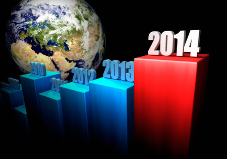 onward: Chart of the global gains in 2014. Europe and Asia in the background. 3d render.