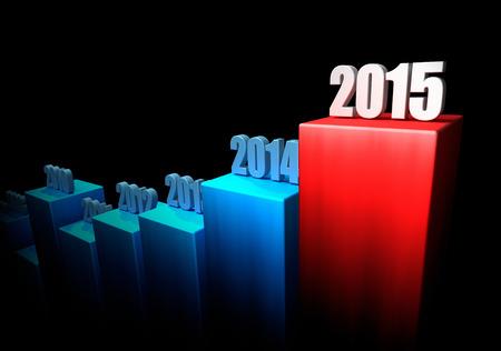 Diagramm des Wachstums von Jahr zu Jahr auf schwarzem Hintergrund. 2015 als ein Ende. 3d render Lizenzfreie Bilder