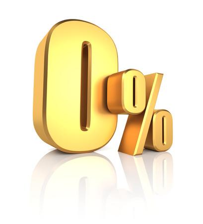0 percent off. Gold metal letters on reflective floor. White background. Discount 3d render Standard-Bild