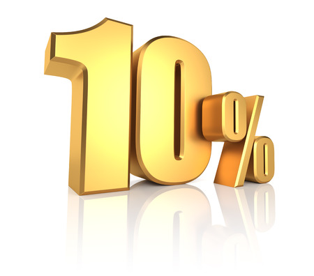 10: 10 percent on white background. 3d rendering gold metal discount