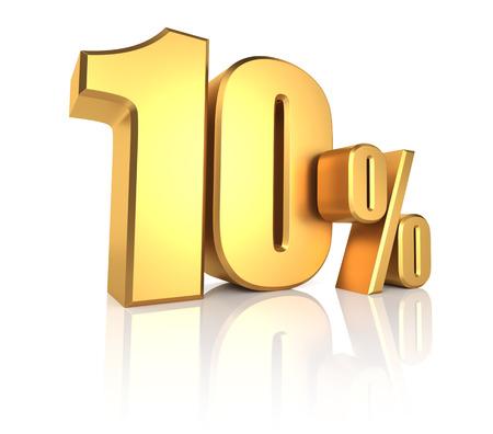10 Prozent auf weißem Hintergrund. 3D-Rendering Gold-Metall-Rabatt