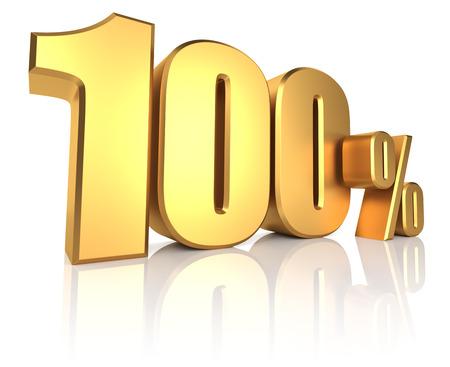 100 percent on white background. 3d render golden metal discount Stok Fotoğraf - 35357402