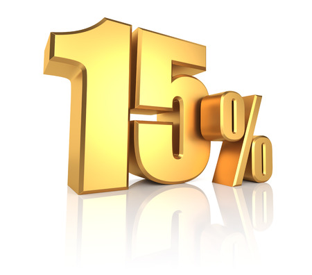 15 percent on white background. 3d rendering golden metal discount