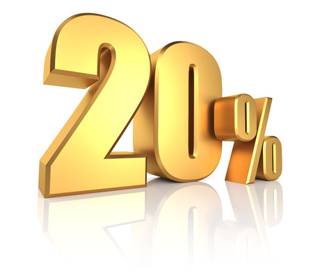 3D rendering of 20 percent in gold metal letters on white background Standard-Bild