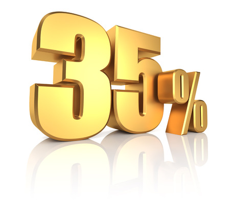 35 percent on white background with shadow. 3d rendering gold metal discount