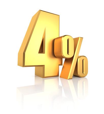 4 percent off. Gold metal letters on reflective floor. White background. Discount 3d render Standard-Bild