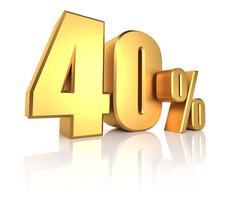 40 percent on white background. 3d render gold metal discount