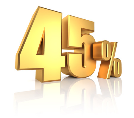 45: 45 percent on white background. 3d rendering gold metal discount Stock Photo