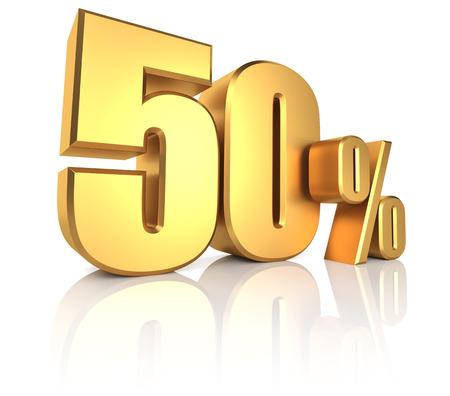 50 percent on white background. 3d rendering gold metal discount Standard-Bild