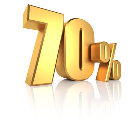 70 percent on white background. 3d render golden metal discount Standard-Bild