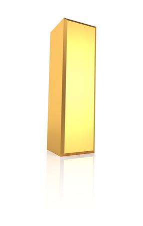 3d rendering golden letter I isolated on white background photo