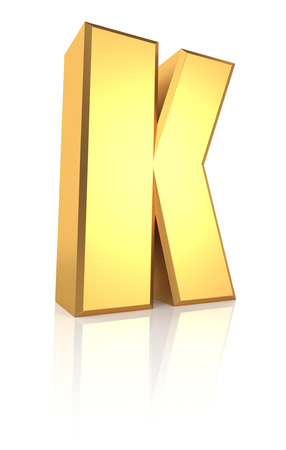 letter k: 3d rendering golden letter K isolated on white background