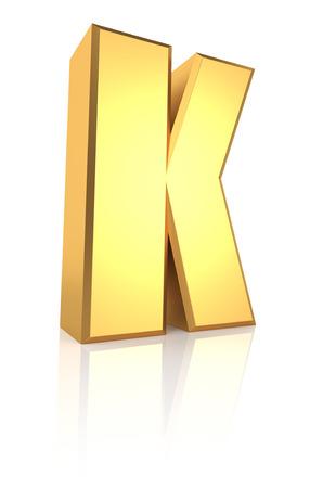 letter k: 3d rendering golden letter K isolated on white background