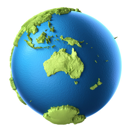australia: Globe 3d isolated on white background.