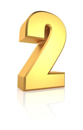 letras de oro: Representación 3d oro número 2 aislado en fondo blanco