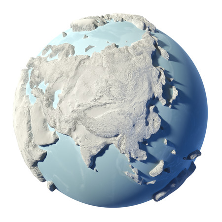 Winter earth isolated on white background. 3d render. Continent Asia. Elements of this image furnished by NASA photo