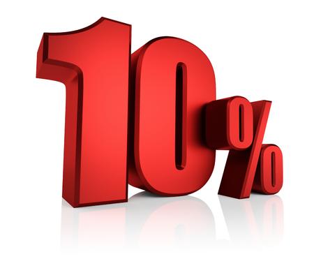 Red 10 percent on white background. 3d render discount Standard-Bild