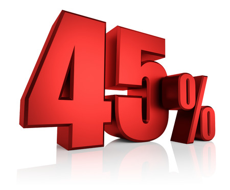 45: Red 45 percent on white background. 3d render discount