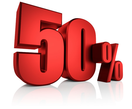 50 percent on white background. 3d rendering red discount