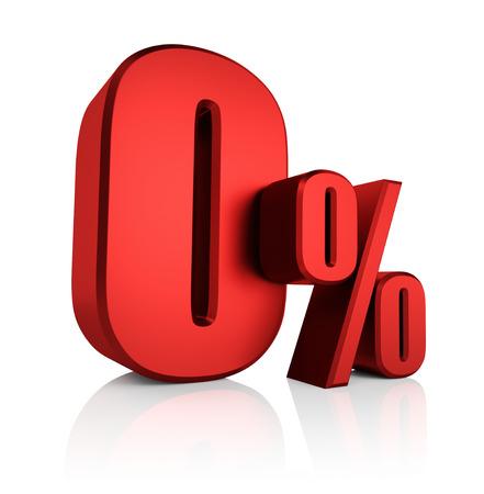 0 percent on white background. 3d rendering red discount Standard-Bild