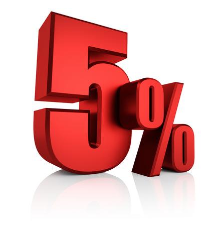 5 percent on white background. 3d rendering red discount Standard-Bild