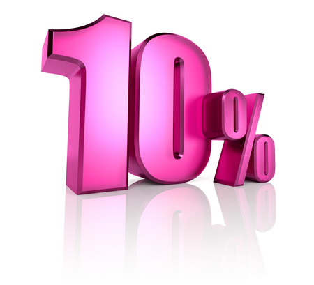 Pink ten percent sign isolated on white background. 3d rendering