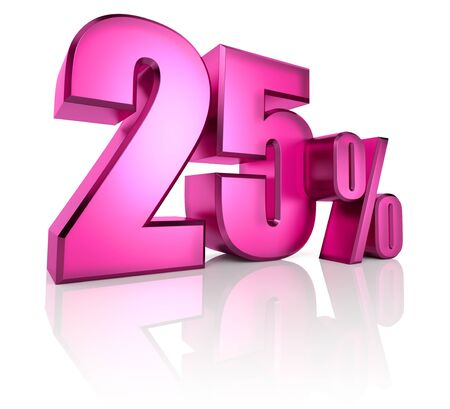 twenty five: Pink twenty five percent sign isolated on white background. 3d rendering