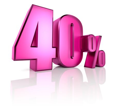 forty: Pink forty percent sign isolated on white background. 3d rendering