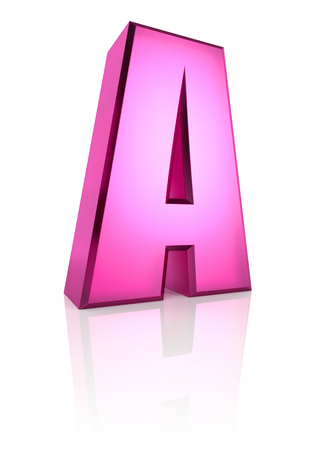 girlish: Pink letter A isolated on white background. 3d rendering
